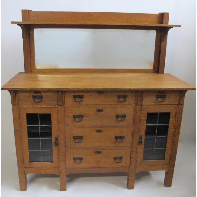 Glass Arts & Crafts Mission Oak Sideboard Buffet For Sale - Image 7 of 7