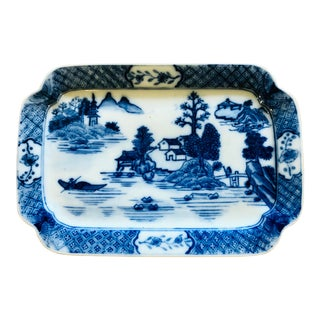Vintage Chinoiserie Blue and White Platter For Sale