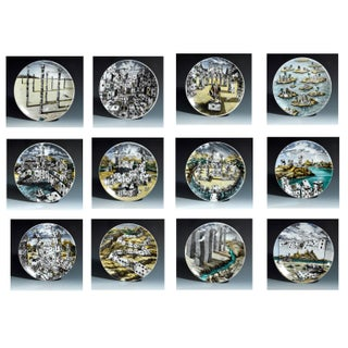 Piero Fornasetti Citta DI Carte City of Cards Plates in Complete Set of Twelve Preview