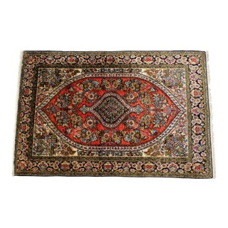 Vintage Mid-Century Silk Persian Area Rug - 3′5″ × 5′2″ For Sale