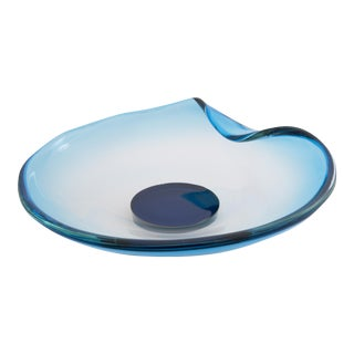 Clear Pale Blue Murano Glass Dish on Puck Base