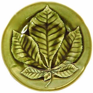 Antique French Majolica Chestnut Leaf Plate For Sale