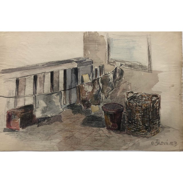 1920s Laundry on the Porch Scene by Olga Silova For Sale