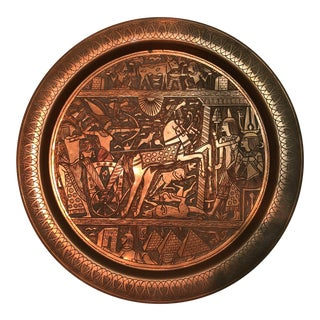 "Antique Egyptian 20"" Copper Wall Hanging Plate With Hieroglyphs For Sale"