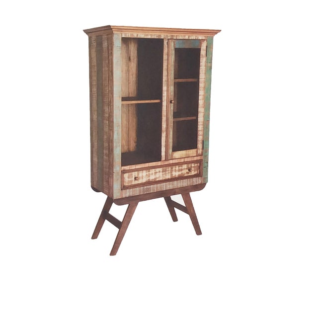 Contemporary design and rustic peroba wood make this display cabinet very unique! It features 3 shelves behind glass...