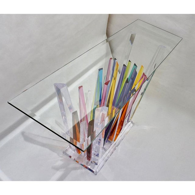 Abstract Design Rock Acrylic Multicolor Console With Clear Bevelled Glass Top For Sale - Image 4 of 9