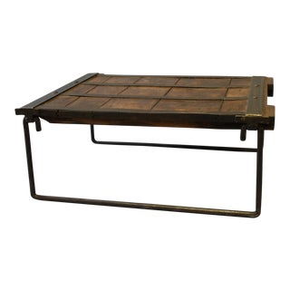 Low Industrial Table With Elm Wood and Iron Base