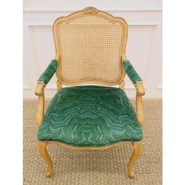Malachite Velvet Century Brand Caned French Chairs - a Pair For Sale - Image 6 of 11