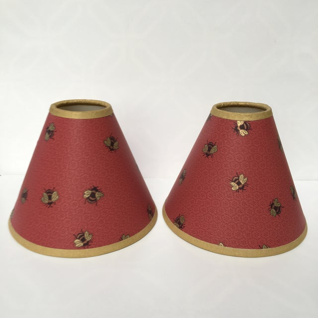 Paper 1990s Vintage Gold Bees & Honeycomb Lamp Shades - A Pair For Sale - Image 7 of 8