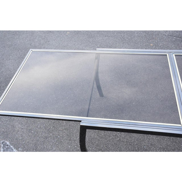 Transparent Dia Gunmetal Chrome Modern Dining Table For Sale - Image 8 of 11