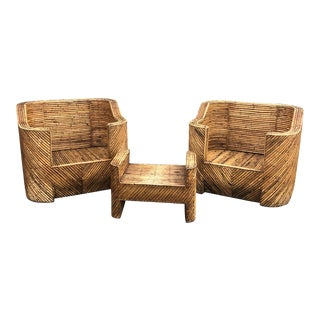 Gabriella Crespi Style Rattan Pair of Club Chairs and Ottoman For Sale