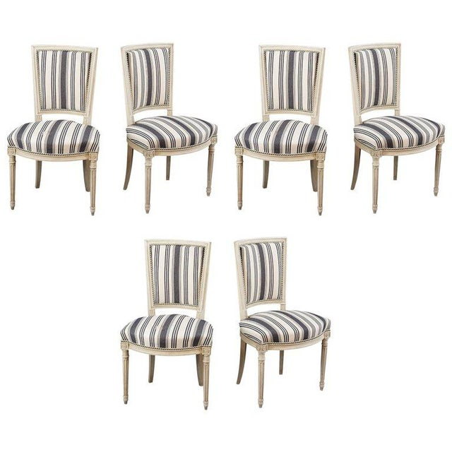 Handsome Set of Six Louis XVI Style Side Chairs Covered in Blue and White Stripe For Sale - Image 4 of 5
