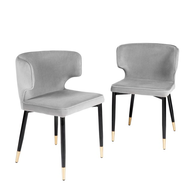 Metal Contemporary Kayla Upholstered Dining Chairs in Gray Velvet - a Pair For Sale - Image 7 of 7
