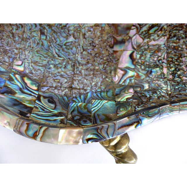 Los Castillo Mexican Mid-Century Modern Mixed Metal and Abalone Parrot Tray For Sale In Miami - Image 6 of 13