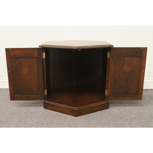 20th Century British Colonial Kling Solid Cherry Hexagonal Storage End Table For Sale - Image 9 of 13