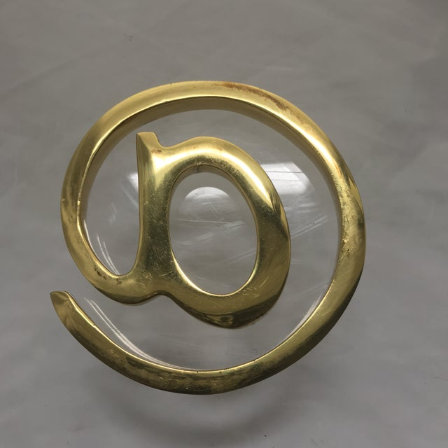 West Elm Solid Brass At Sign Paperweight For Sale - Image 4 of 7