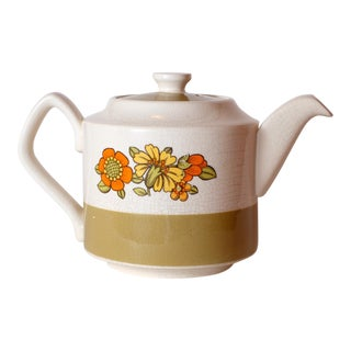 1960s Vintage English Sadler Stoneware Teapot Floral For Sale