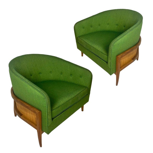 Pair of Lawrence Peabody Walnut Frame Stilted Floating Lounge Bucket Chairs For Sale
