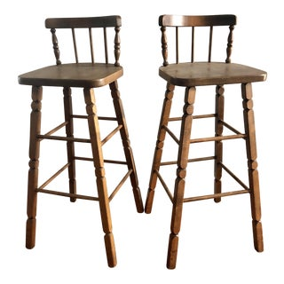 Mid-Century Vintage Wooden Bar Stools - A Pair
