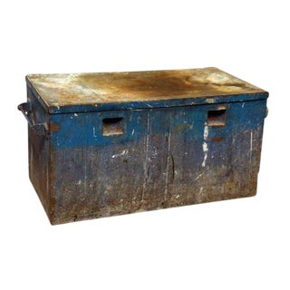 Rusted Blue Metal Trunk For Sale