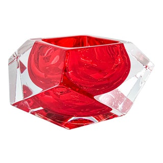21st Century Red Faceted Murano Crystal Dish For Sale