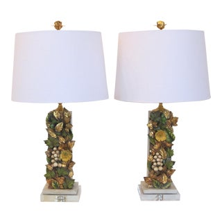 Pair Custom Made Vintage Italian Tole Fragment Lamps by C. Damien Fox For Sale