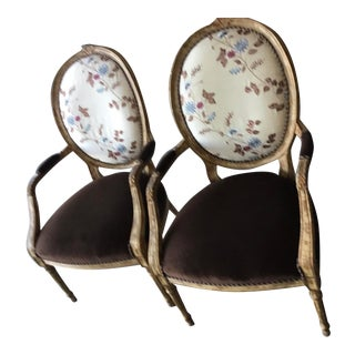 Century Furniture French Embroidered Silk Velvet Arm Chairs - Pair For Sale