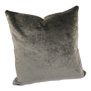 Contemporary Chic Coffee Mohair Velvet Feather Down Pillow For Sale