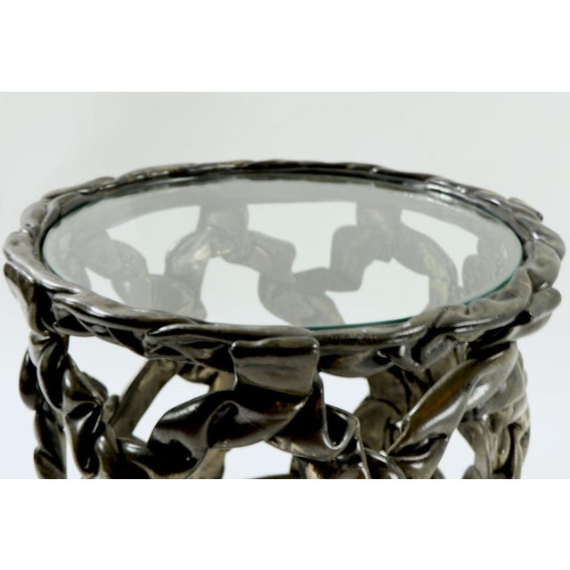 Brutalist Drum Table of Resin and Glass For Sale - Image 9 of 10