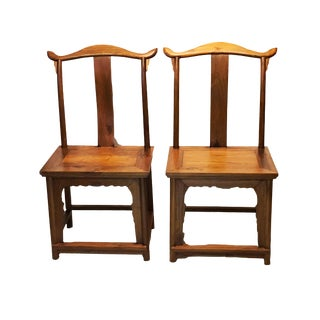"Chinese High Officials Hat Pair of Chairs 42.5"" H For Sale"
