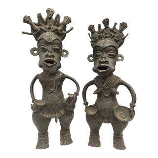 1980s Vintage African Bronze Bamun Court Jester Statues - A Pair