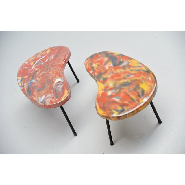 Very special small side tables kidney shaped, France 1960. These tables are VERY special, I cannot find anything on the...