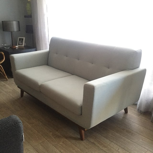 Mid-Century Blue Gray Loveseat - Image 2 of 8