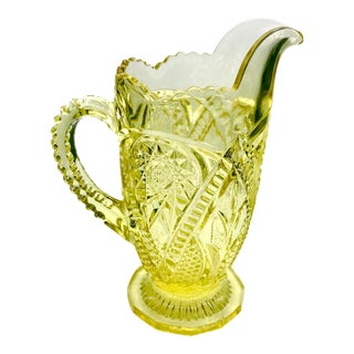 Antique 1890s Early American Hobstar Vaseline Glass Pitcher For Sale