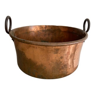 Rustic Vintage Copper Pot W/ Forged Iron Handles For Sale