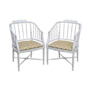 Vintage Faux Bamboo White Distressed Painted Barrel Back Arm Chairs - a Pair For Sale