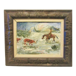 """1969 """"Cowboy on Horse With Cattle"""" Scenic Western Oil Painting by Mark Moore For Sale"""