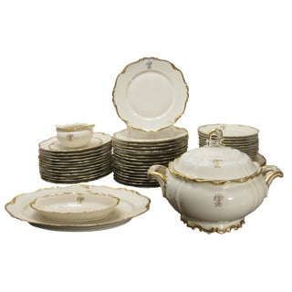 Monogrammed Bavarian Gilt China, S/52 For Sale