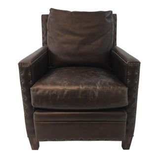 Transitional Chocolate Brown Vintage Style Leather Club Chair For Sale