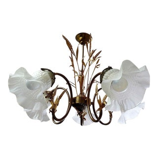 Mid-Century Maison Bagues Sheaf of Wheat W/ Tulip Shade Chandelier For Sale