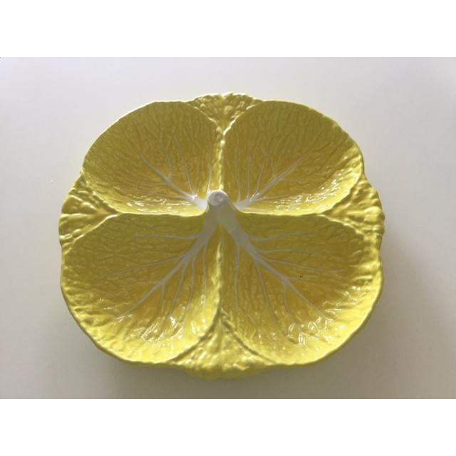 Mid 20th Century Vintage Secla Yellow Cabbage Divided Dish, Made in Portugal For Sale - Image 5 of 5
