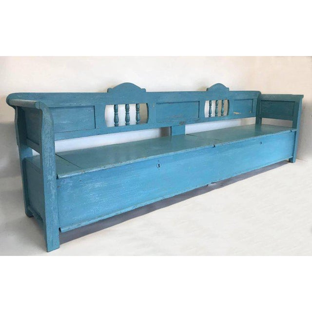 Very Long Painted 19th Century Bench With Storage For Sale - Image 10 of 10