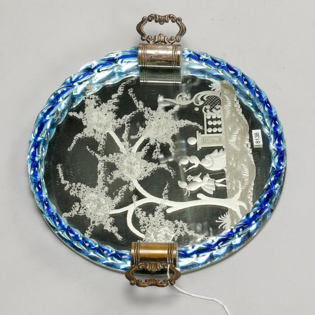 Venetian Etched Mirrored Blue Rim Dresser Tray For Sale - Image 5 of 6