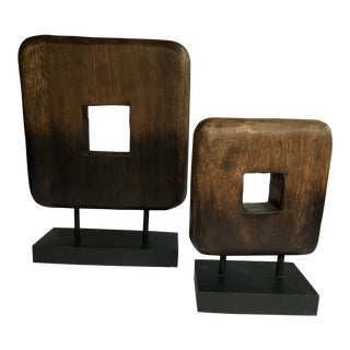 Contemporary Abstract Wenge Wood Sculptures - A Pair For Sale