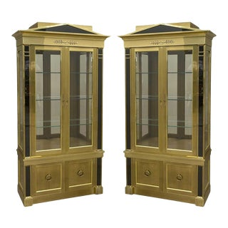 Pair of Neoclassical Brass Vitrine Cabinets by Mastercraft For Sale