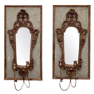 Pair 19th Century Italian Sconces With Carved Mirror and Gesso Frames
