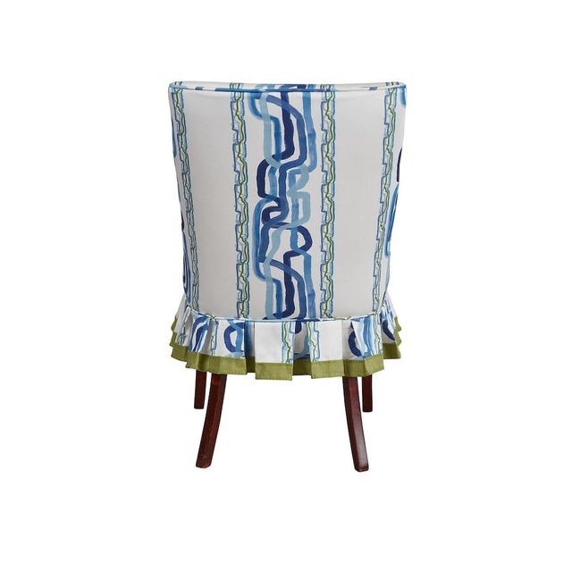 Wood Mid 20th Century Occasional Chairs in Ferrick Mason's Forever Blue Whiskey Stripe - a Pair For Sale - Image 7 of 9