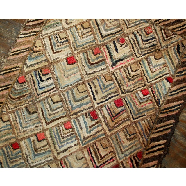 1900s Handmade Antique American Hooked Rug - 2' X 3' For Sale - Image 4 of 5