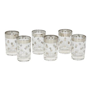 Set of Six Dorothy Thorpe Barware Glasses with Polka Dot Design For Sale