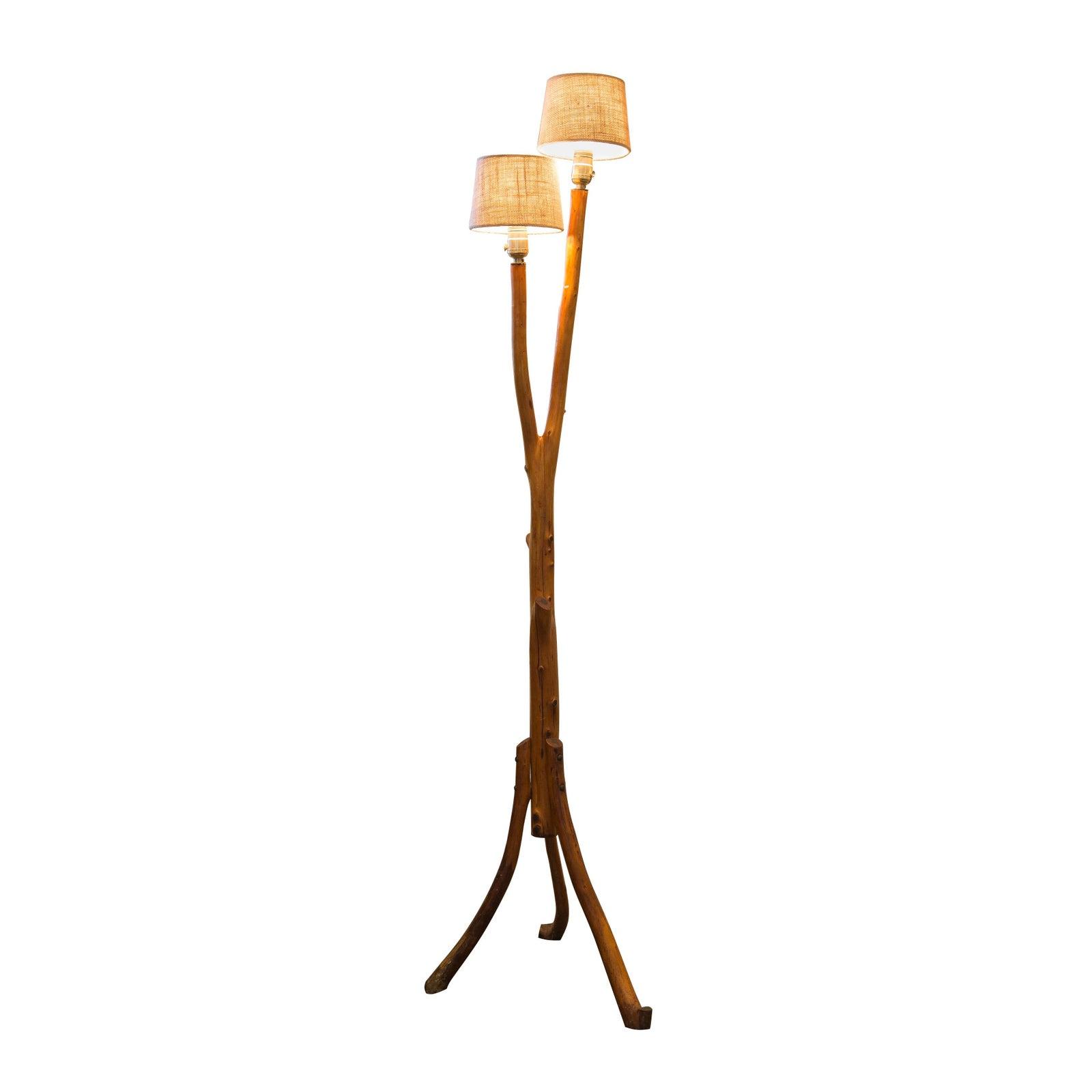 Vintage Folk Art Tree Branch Floor Lamp